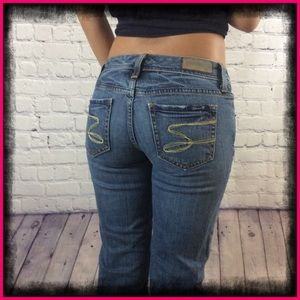 7 For All Mankind Flared Blue Jeans